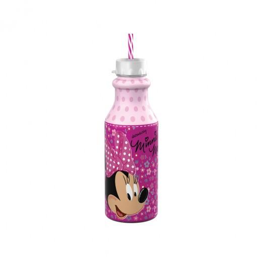 Garrafa de Plástico 500 ml com Tampa Rosca e Canudo Retrô Minnie