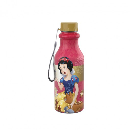 Garrafa de Plástico 500 ml com Tampa Rosca Retrô Princesas Colecionáveis Branca de Neve