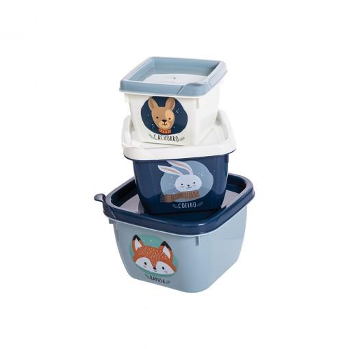 Conjunto de Potes de Plástico Quadrados Bichinhos Conect 3 unidades