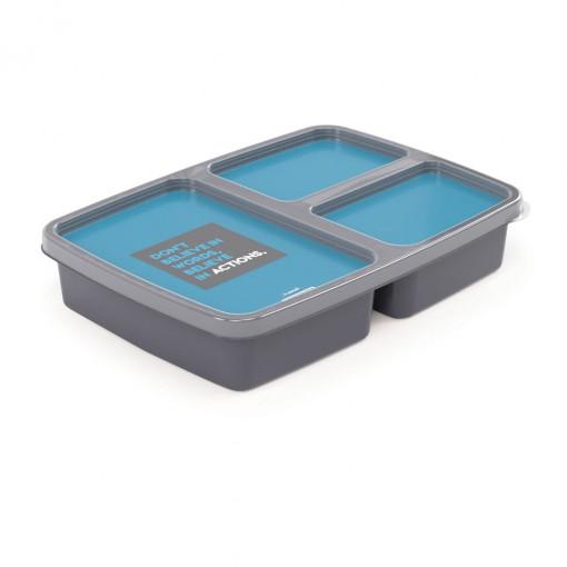 Pote de Plástico Retangular 1 L com 3 Divisórias Fitness Clic