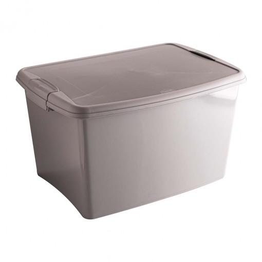 Caixa de Plástico Retangular Organizadora 18,7  L com Tampa, Travas Laterais Gran Box - Fendi