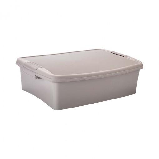 Caixa de Plástico Retangular Organizadora 9,2 L com Tampa, Travas Laterais Gran Box - Fendi