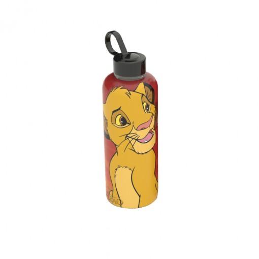 Garrafa de Plástico 480 ml com Tampa Rosca e Pegador Fixo Cilíndrica O Rei Leão