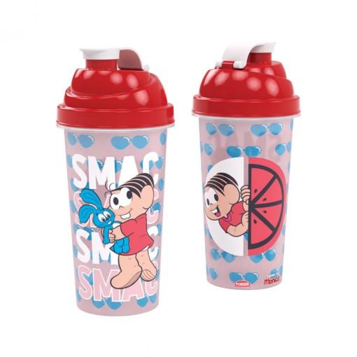 Shakeira de Plástico 580 ml com Tampa Rosca e Misturador Mônica