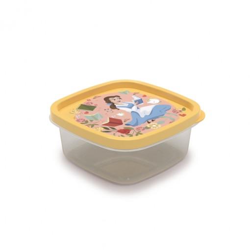Pote de Plástico Quadrado 580 ml Princesas Bela Clic