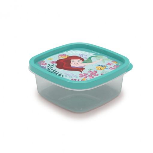 Pote de Plástico Quadrado 580 ml Princesas Pequena Sereia Clic