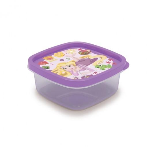 Pote de Plástico Quadrado 580 ml Princesas Rapunzel Clic