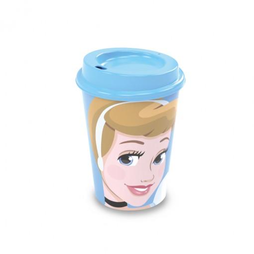 Copo de Plástico 320 ml com Tampa Café Princesas Cinderela