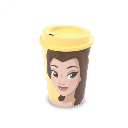 Copo de Plástico 320 ml com Tampa Café Princesas Bela