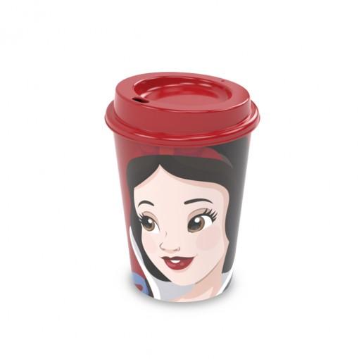 Copo de Plástico 320 ml com Tampa Café Princesas Branca de Neve