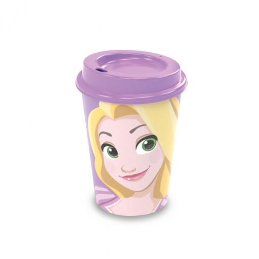 Copo de Plástico 320 ml com Tampa Café Princesas Rapunzel