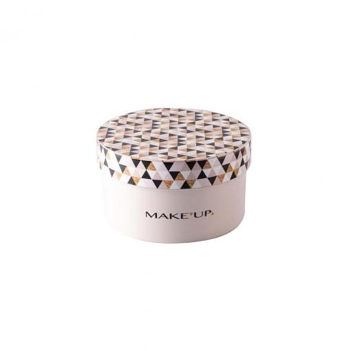 Caixa de  Plástico Redonda 1,2 L com Tampa Encaixável Maquiagem