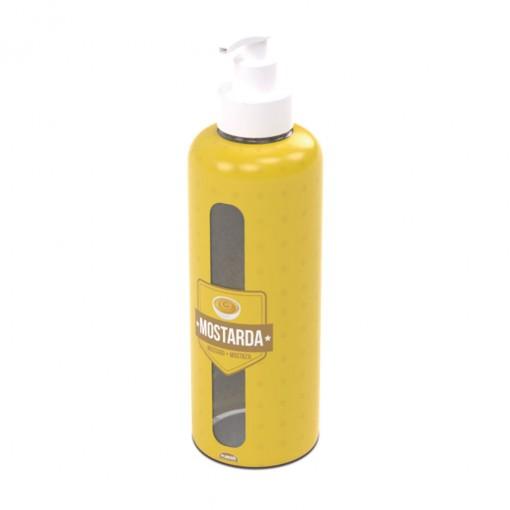 Garrafa de Plástico 970 ml com Bomba Mostarda