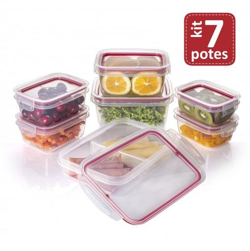 Kit de Potes de Plástico Herméticos com Travas 7 Peças