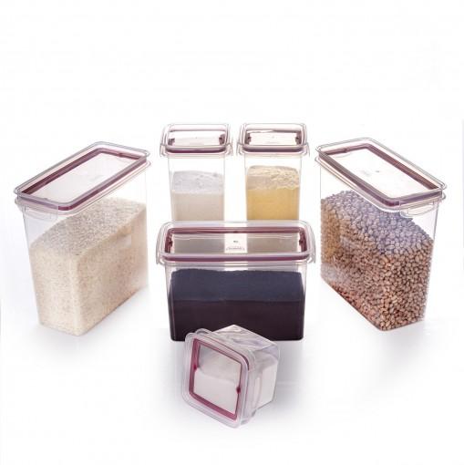Kit de Potes de Plástico para Mantimentos Herméticos com Travas 6 Peças