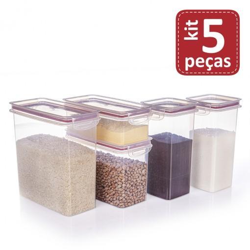 Kit de Potes de Plástico para Mantimentos Herméticos com Travas 5 Peças