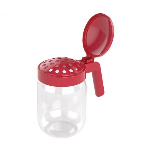 Porta Queijo Ralado de Plástico com Alça 450 ml Vermelho