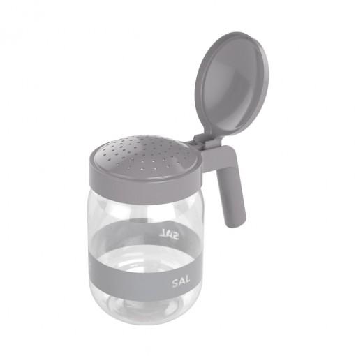 Saleiro de Plástico com Alça 450 ml Cinza
