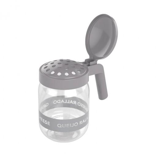 Porta Queijo Ralado de Plástico com Alça 450 ml Cinza