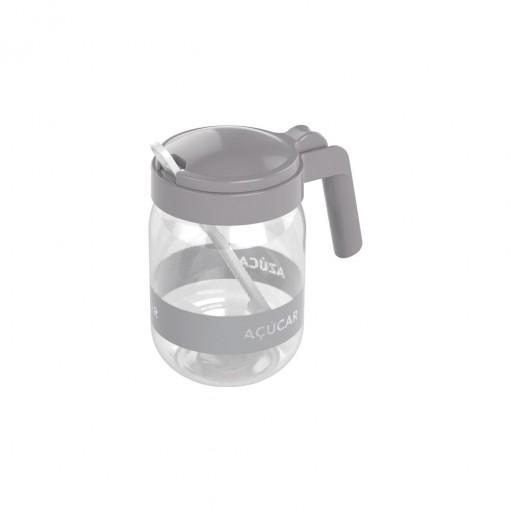 Açucareiro de Plástico com Alça e Colher 450 ml Cinza