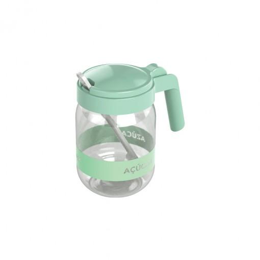 Açucareiro de Plástico com Alça e Colher 450 ml Verde