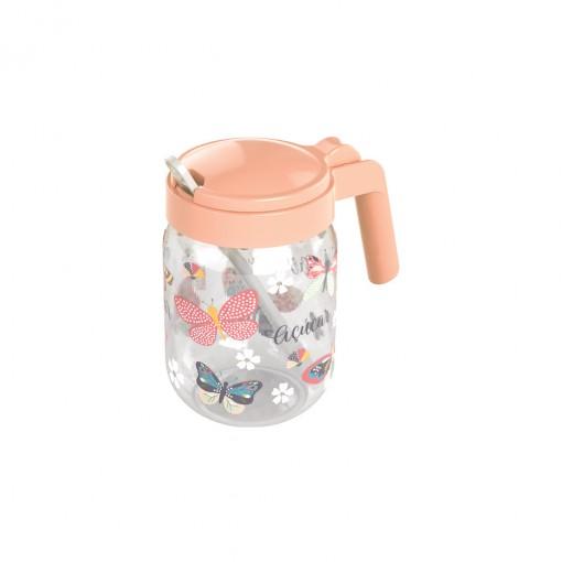 Açucareiro de Plástico com Alça e Colher 450 ml Borboleta Rosa