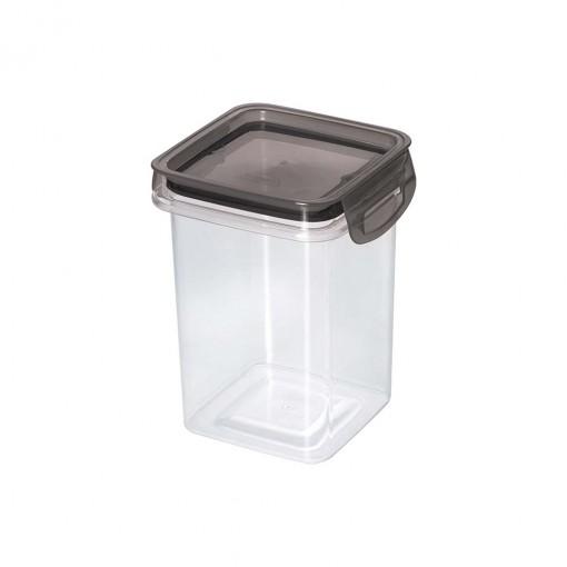 Porta Mantimentos Quadrado Trava Mais Cristal 830 ml Preto