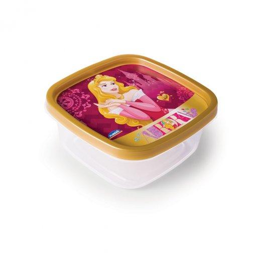 Pote de Plástico Quadrado 580 ml Clic Princesas Colecionáveis