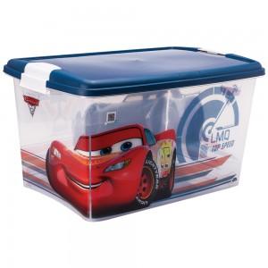 Imagem do produto - Caixa de Plástico Retangular Organizadora 46 L com Tampa e Travas Laterais Carros