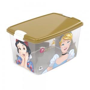 Imagem do produto - Caixa de Plástico Retangular Organizadora 46 L com Tampa e Travas Laterais Princesas Colecionáveis
