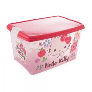Imagem do produto - Caixa de Plástico Retangular Organizadora 46 L com Tampa e Travas Laterais Hello Kitty