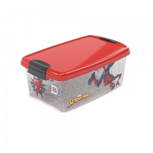 Imagem do produto - Caixa de Plástico Retangular Organizadora 4,2 L com Tampa e Travas Laterais Homem Aranha