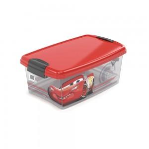 Imagem do produto - Caixa de Plástico Retangular Organizadora 4,2 L com Tampa e Travas Laterais Carros