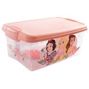 Imagem do produto - Caixa de Plástico Retangular Organizadora 4,2 L com Tampa e Travas Laterais Princesas