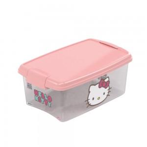 Imagem do produto - Caixa de Plástico Retangular Organizadora 4,2 L com Tampa e Travas Laterais Hello Kitty