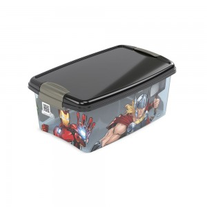 Imagem do produto - Caixa de Plástico Retangular Organizadora 4,2 L com Tampa e Travas Laterais Avengers
