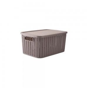 Imagem do produto - Caixa de Plástico Retangular Organizadora 4,7 L com Tampa e Pegador Trama