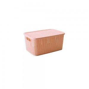 Imagem do produto - Caixa de Plástico Retangular Organizadora 2,8 L com Tampa e Pegador Trama Rosa