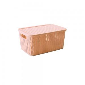 Imagem do produto - Caixa de Plástico Retangular Organizadora 4,7 L com Tampa e Pegador Trama Rosa