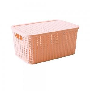 Imagem do produto - Caixa de Plástico Retangular Organizadora 8 L com Tampa e Pegador Trama Rosa
