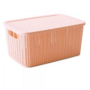 Imagem do produto - Caixa de Plástico Retangular Organizadora 14 L com Tampa e Pegador Trama Rosa