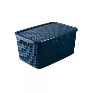 Imagem do produto - Caixa de Plástico Retangular Organizadora 4,7 L com Tampa e Pegador Trama Azul