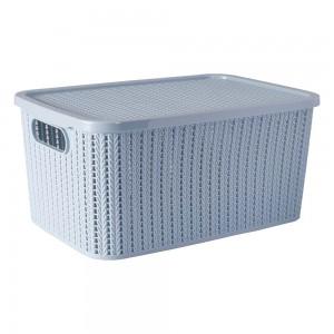 Imagem do produto - Caixa de Plástico Retangular Organizadora 14 L com Tampa e Pegador Trama Azul