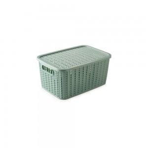 Imagem do produto - Caixa de Plástico Retangular Organizadora 2,8 L com Tampa e Pegador Trama Verde
