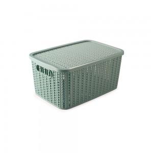 Imagem do produto - Caixa de Plástico Retangular Organizadora 4,7 L com Tampa e Pegador Trama Verde