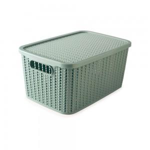 Imagem do produto - Caixa de Plástico Retangular Organizadora 8 L com Tampa e Pegador Trama Verde