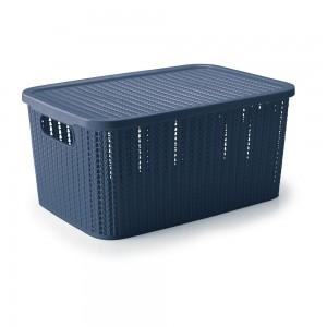 Imagem do produto - Caixa de Plástico Retangular Organizadora 14 L com Tampa e Pegador Trama