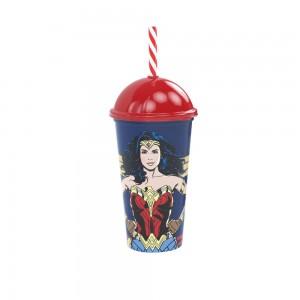Imagem do produto - Copo Shake de Plástico 500 ml com Tampa e Canudo Mulher Maravilha