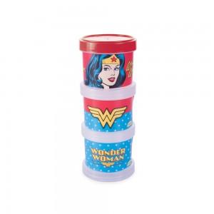 Imagem do produto - Conjunto Organizador de Plástico Empilhável com Tampa Rosca Mulher Maravilha 3 Unidades