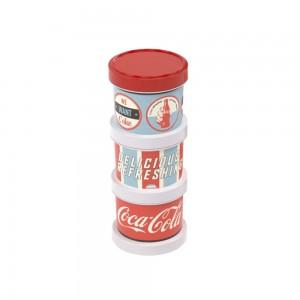 Imagem do produto - Conjunto Organizador de Plástico Empilhável com Tampa Rosca 3 Unidades Coca Cola